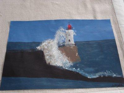"""paysage fais a l'acylique """"mer"""""""