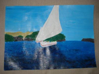 """paysage fais a l'acylique """"mer avec 2 bateaux """""""