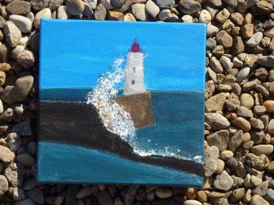 """paysage fait a l'acrylique """"mer"""" sur toille"""