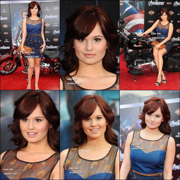 """.  Le 11/04/12/. Debby Ryan était à la célébration de """"The Avengers"""" à la première de Los Angeles ."""