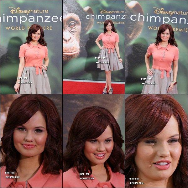 """.  Le 13/04/12/. Debby Ryan s'est rendue à l'avant-première du film intitulé """" Chimpanzee """" ."""