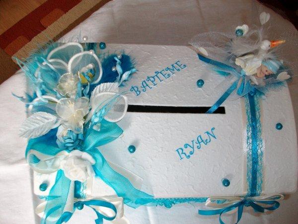 Urne mariage bapt me blanc bleu turquoise la copie n - Decoration de salle pour bapteme garcon ...