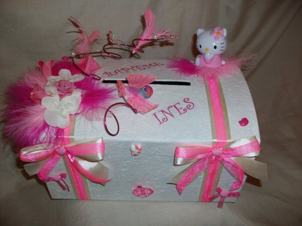 Urne bapt me rose hello kitty la copie n 39 est pas un art for Idee deco urne bapteme