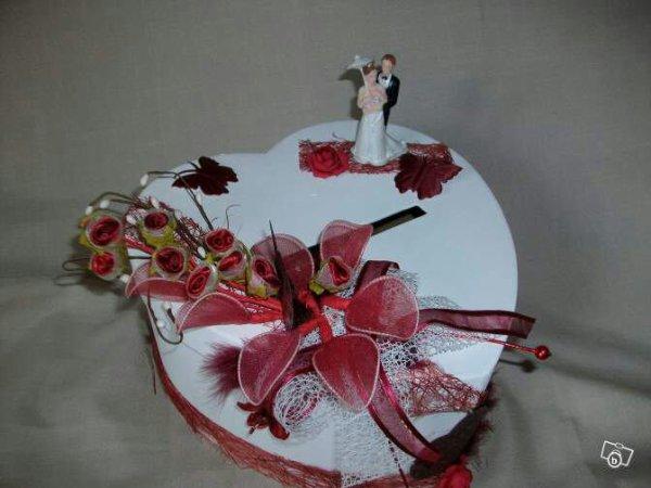 Urne de mariage blanc rouge bordeaux la copie n 39 est pas for Decoration urne de mariage