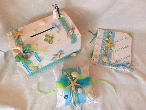 Urne de mariage th me mer turquoise et vert la copie n 39 est pas un art juste le fruit - Bleu turquoise et vert anis ...