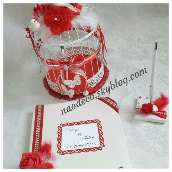 Urne Cage Oiseaux Blanc Et Rouge La Copie N Est Pas Un