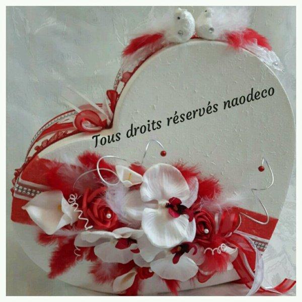 urne mariage coeur blanc et rouge la copie n 39 est pas un art juste le fruit. Black Bedroom Furniture Sets. Home Design Ideas