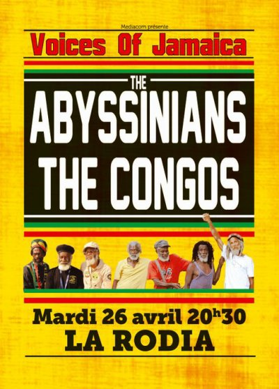 "Mardi 26 avril à la Rodia Besançon   "" Fyah P feat The Mighty Tone band, The Congos , The Abyssinians """