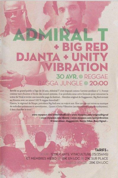 "Samedi 30 avril féstival Caméléon à Kingersheim au Tival "" Unity Vibration, Djanta, Big Red, Adimaral T """