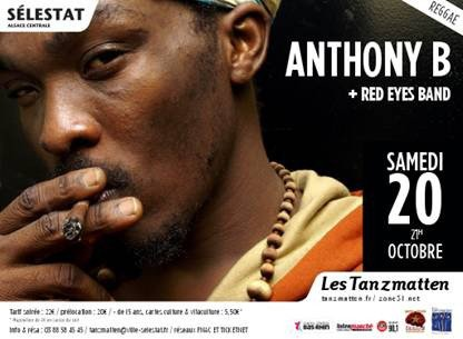 "Samedi 20 octobre "" Red Eyes Band, Anthony B "" au Tanzmatten à Séléstat"