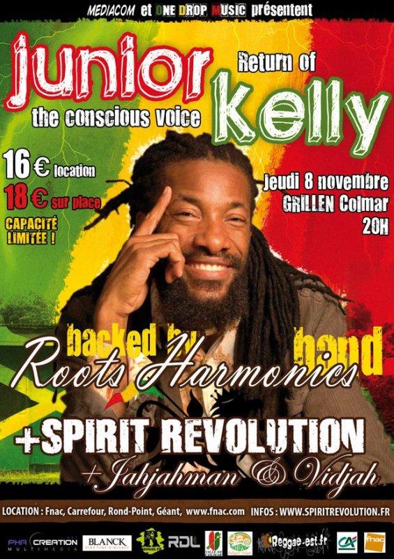 """Jeudi 8 novembre """" Jah Jah Man feat Vidjah; Spirit Revolution; Junior Kelly backed by Roots Harmonics """" au Grillen à Colmar"""