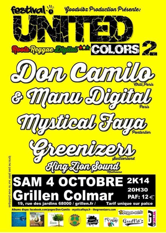 "Festival United Colors 2 ""King Zion Sound, Greenizers, Mystical Faya, Don Camilo feat Manu Digital"" au Grillen à Colmar"