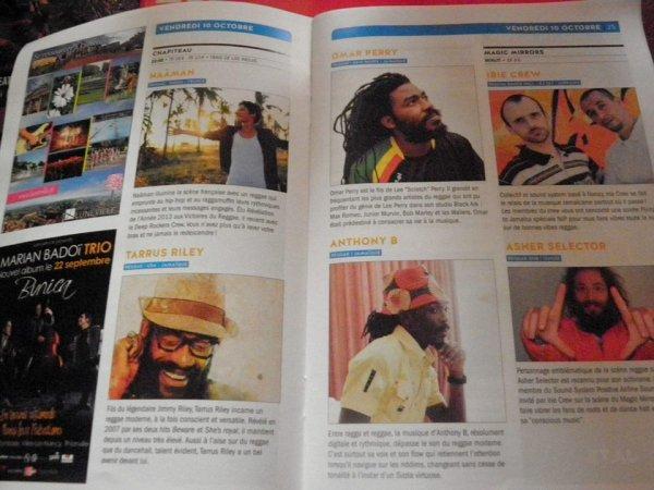 "Vendredi 10 octobre Nancy Jazz Pulsation Festival "" Naâman, Alaine, Tarrus Riley, Omar Perry, Anthony B, Asher Selector, Irie Crew"""