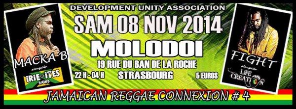 "Samedi 8 novembre 2014 Jamaican reggae connexion 4 "" Life & Creation Sound feat Fight, Irie Ites feat Macka B "" au Molodoï à Strasbourg"