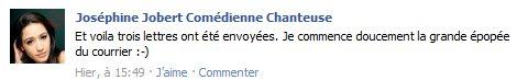 Nouveau statut facebook de Joséphine Jobert.
