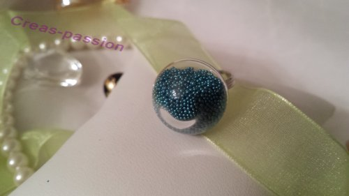 Bague bulle et microbille turquoise