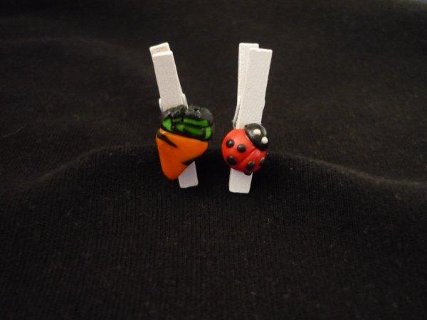 Epingles décorés : carotte et coccinelle