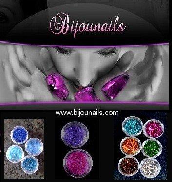 www.bijounails.com, Paillettes et Poudres scintillantes Nail Art