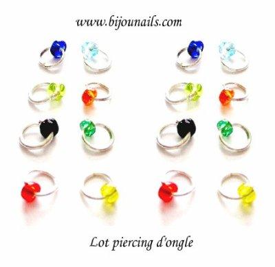 Nouveauté , lot 8 piercings d'ongle perle www.bijounails.com