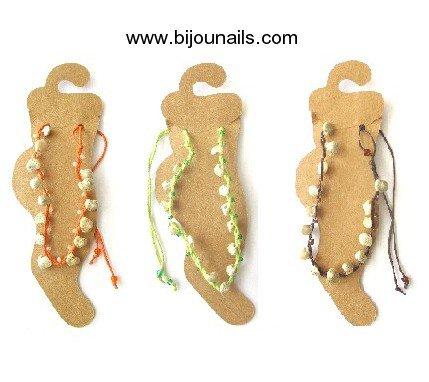 Nouveauté , lot 3 Chaînes cheville , cordons , coquillages www.bijounails.com