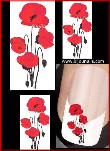Stickers coquelicots , www.bijounails.com