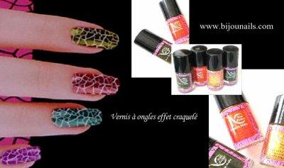Vernis à ongles effet craquelé , en lot ou individuel www.bijounails.com