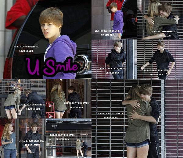""".Justin et une fille sur le set de « U Smile » . Ne croyez pas sa """"petite amie """"c'est le  tournage de son prochain clip « U smile »"""