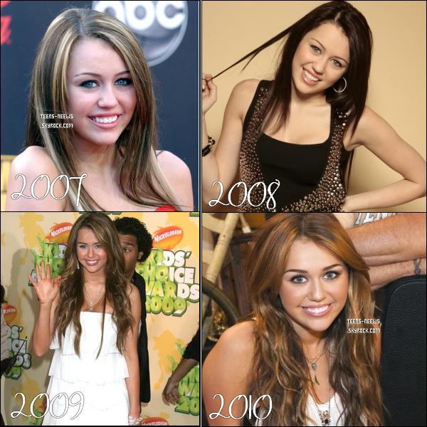 .   Découvre l'évolution de Miley cyrus et Vanessa Hudgens de 2007 à 2010. .