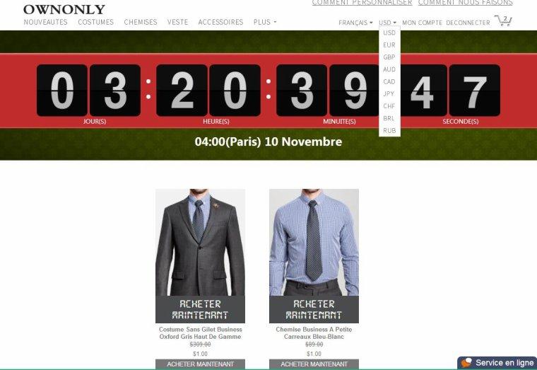 Gagner votre costume avec 0.77¤ À 04:00(Paris) le 10 Novembre