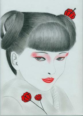 Pour une commande à une future coiffeuse qui devait rendre un devoir mais  qui ne sait pas dessiner Le sujet était coiffure japonnaise  traditionnelle avec
