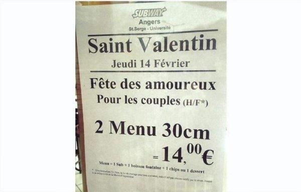 À Angers, un menu « homophobe » pour la Saint-Valentin