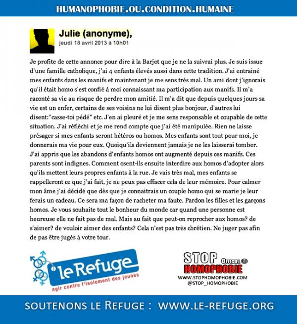 Homophobie et manipulations : Lettre d'une « maman » à Frigide Barjot pour manifester son désengagement à la #manifpourtous
