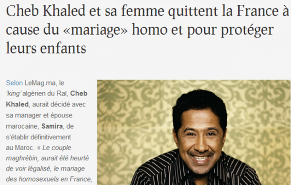 Cheb Khaled et sa femme quittent la France à cause du «mariage» homo et pour protéger leurs enfants !???