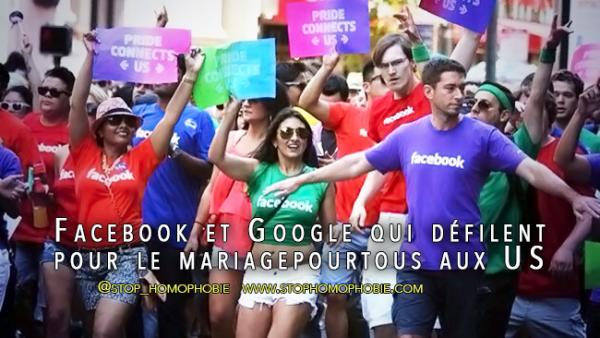 Facebook et Google qui défilent pour le #mariagepourtous aux US