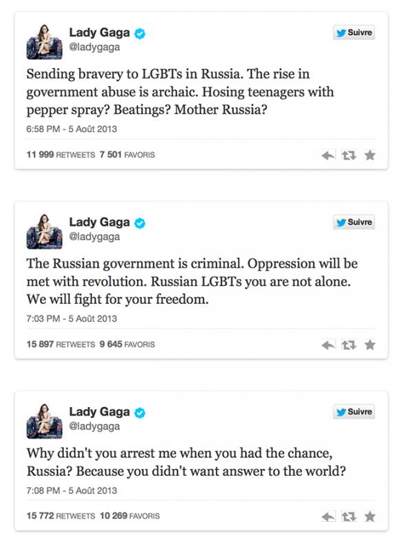 Le gouvernement russe est criminel » : quand Lady Gaga défend les gays sur Twitter