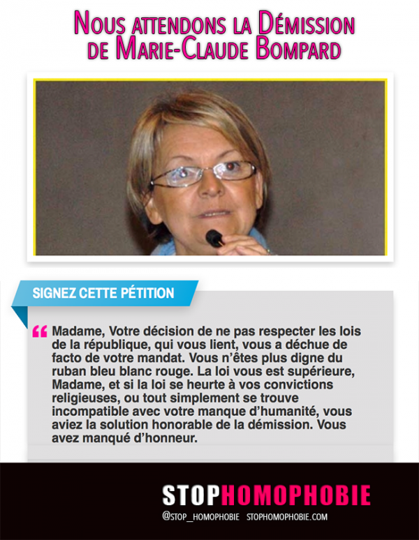Pétition pour la « Démission » de Marie-Claude Bompard, maire d'extrême droite de Bollène (Vaucluse)