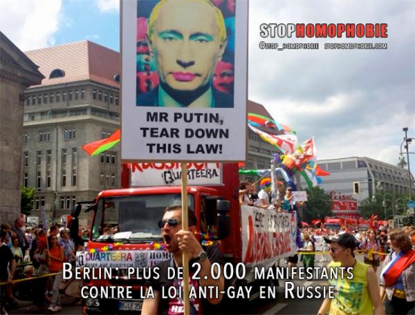 Berlin: plus de 2.000 manifestants contre la loi anti-gay en Russie