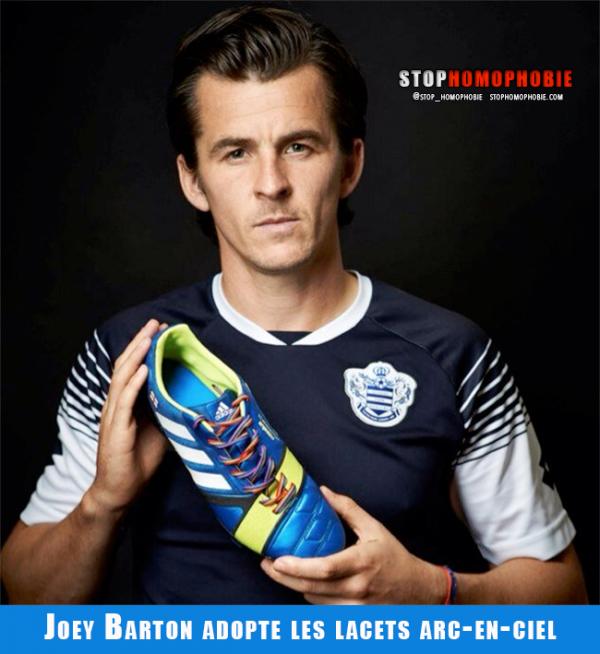 Royaume-Uni : Joey Barton adopte les lacets arc-en-ciel