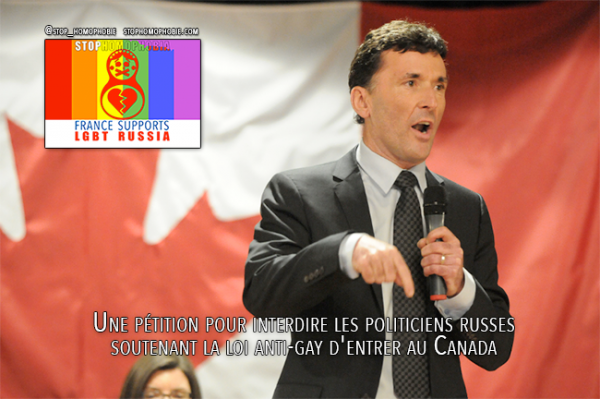 Toronto : Une pétition pour interdire les politiciens russes soutenant la loi anti-gay d'entrer au Canada