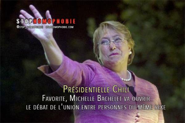 Présidentielle Chili : Favorite, Michelle Bachelet va ouvrir le débat de l'union entre personnes du même sexe