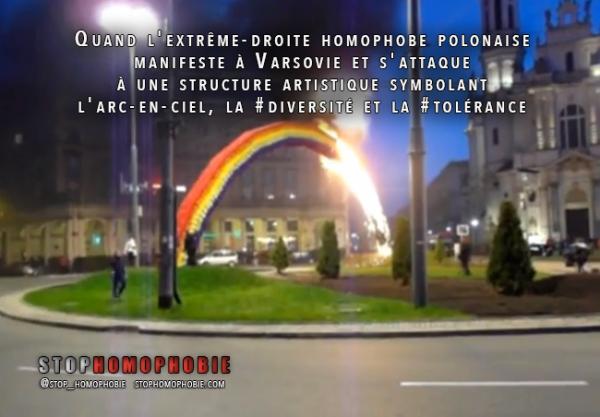 Quand l'extrême-droite #homophobe manifeste à #Varsovie et s'attaque à une #structure artistique symbolant l'arc-en-ciel, la #diversité et la #tolérance