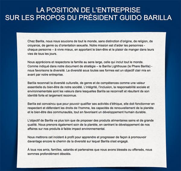 Homophobie : Les excuses de Barilla France