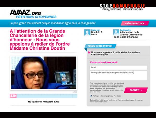 #PÉTITION : MADAME CHRISTINE BOUTIN DOIT RENDRE SA LÉGION D'HONNEUR POUR CONDUITE CIVILE REPROCHABLE !