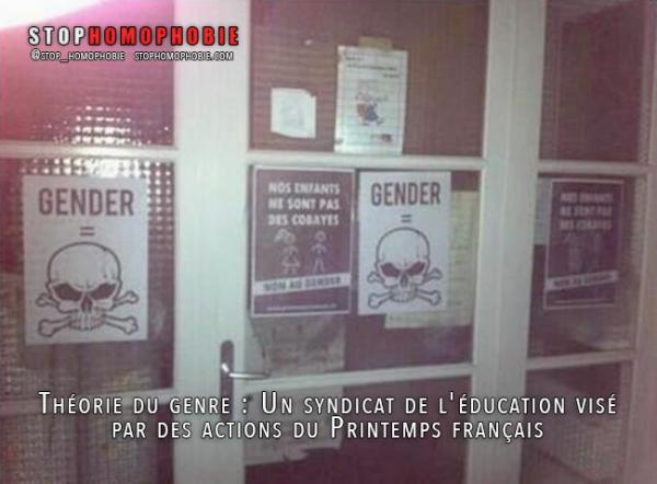 Théorie du genre : Un syndicat de l'éducation visé par des actions du Printemps français