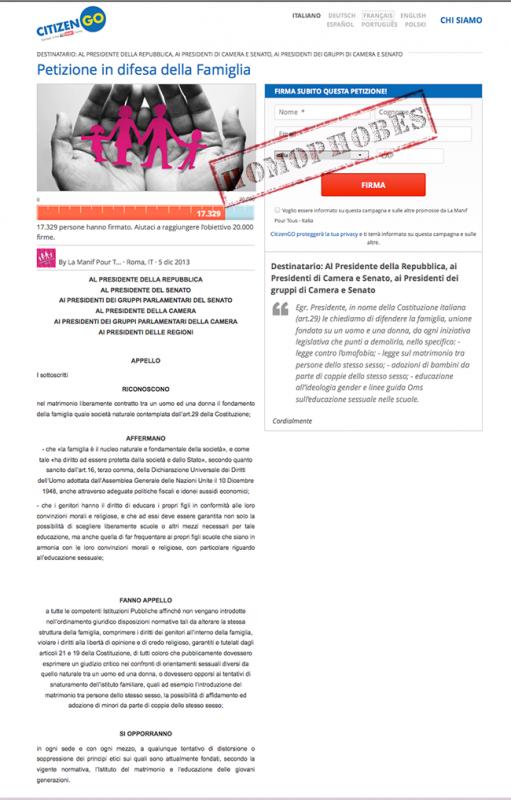 Quand #lamanifpourtous #Italie lance une pétition pour inciter les élus à voter #homophobe