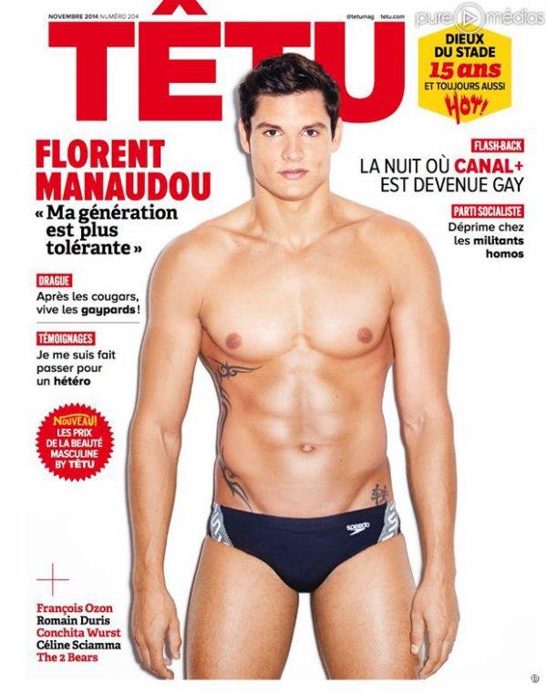 """FLORENT MANAUDOU EN MAILLOT À LA UNE DU MAGAZINE GAY """"TÊTU"""""""
