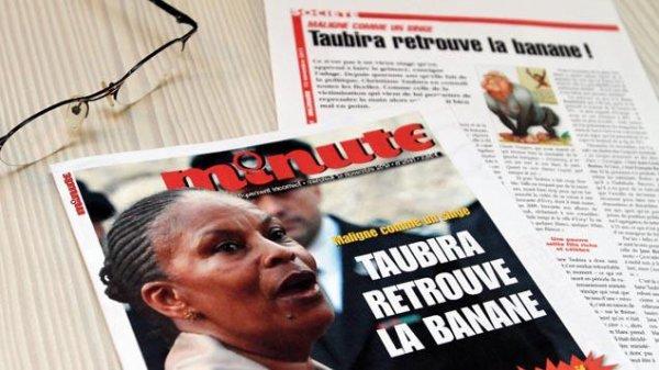 """Taubira comparée à un singe: """"Minute"""" condamné à 10.000 euros d'amende"""