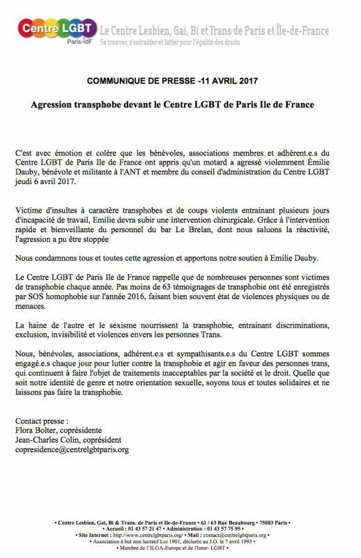 Dépôt de plainte après l'agression d'une militante transgenre devant le Centre LGBT Paris Île-de-France