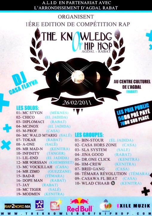 WlaD-Cha3B ( 2-KhouT ) Sur Compétition Rap 26/02/2011 L'arrondessement (AGDAL RABAT) Lés Tickét 50 dh Pré Payé et 70dh Sur Place