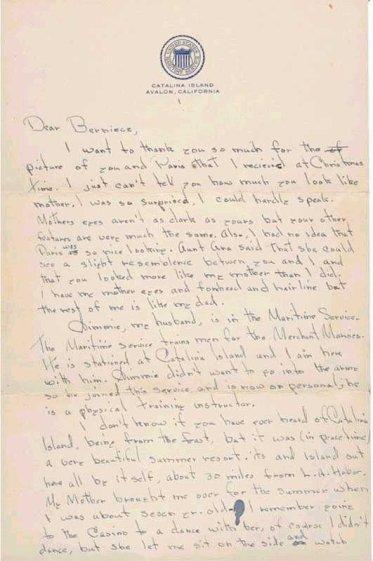 Lettre de Noma Jeane à sa soeur Berniece Miracle